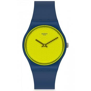SWATCH Yellowpusher - GN266  Blue case with Blue Rubber Strap