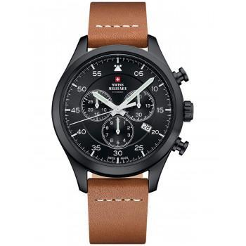 SWISS MILITARY by CHRONO Chronograph - SM34076.08  Black case with Brown Leather Strap