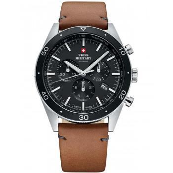 SWISS MILITARY by CHRONO Chronograph - SM34079.04  Silver case with Black Leather Strap