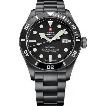 SWISS MILITARY by CHRONO Diver Automatic  Mens - SMA34075.04  Black case with Stainless Steel Bracelet