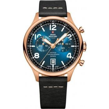 SWISS MILITARY by CHRONO Mens Chronograph - SM30192.06  Rose Gold case with Black Leather Strap