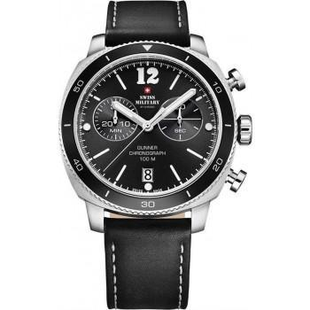 SWISS MILITARY by CHRONO Mens Chronograph - SM34059.02  Silver case with Black Leather Strap