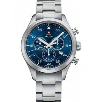 SWISS MILITARY by CHRONO Mens Chronograph - SM34076.02  Silver case with Stainless Steel Bracelet