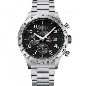 SWISS MILITARY by CHRONO Mens Chronograph - SM34084.01  Silver case with Stainless Steel Bracelet