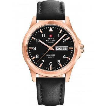 SWISS MILITARY by CHRONO Mens - SM34071.07  Rose Gold case with Black Leather Strap