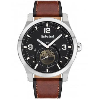 TIMBERLAND  BRADFORT - TDWJF2002002,  Silver case with Brown Leather strap