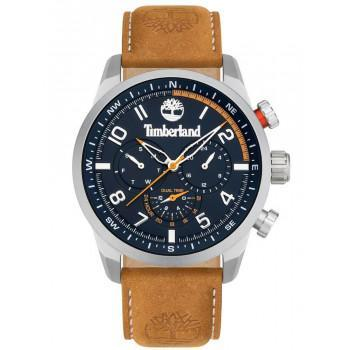 TIMBERLAND  FORESTDALE DUAL TIME - TDWJF2000702,  Silver case with Brown Leather Strap