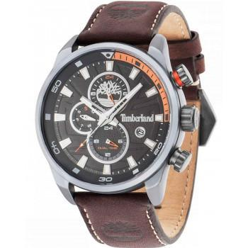 TIMBERLAND  HENNIKER DUAL TIME - TBL14816JLU02A,  Silver case with Brown Leather Strap