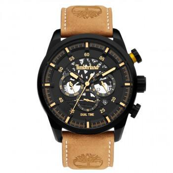 TIMBERLAND  HENNIKER III DUAL TIME - TDWGF2100602,  Black case with Brown Leather Strap