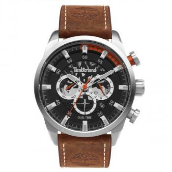 TIMBERLAND  HENNIKER III DUAL TIME - TDWGF2100603,  Silver case with Brown Leather Strap