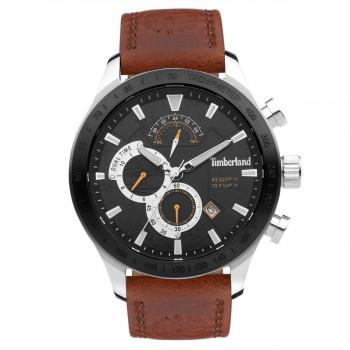 TIMBERLAND  NICKERSON DUAL TIME - TDWGF2100201,  Silver case with Brown Leather Strap
