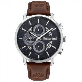 TIMBERLAND  LINDENWOOD DUAL TIME - TDWJF2001202,  Silver case with Brown Leather Strap