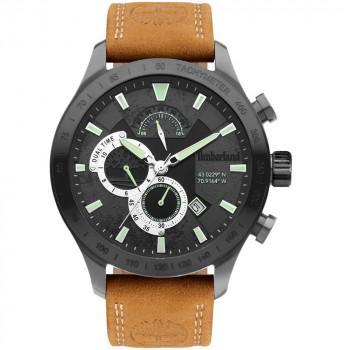 TIMBERLAND NICKERSON DUAL TIME - TDWGF2100202,  Black case with Brown Leather Strap