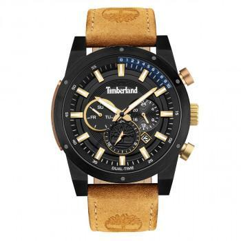 TIMBERLAND  SHERBROOK DUAL TIME - TDWJF2001801,  Black case with Brown Leather Strap