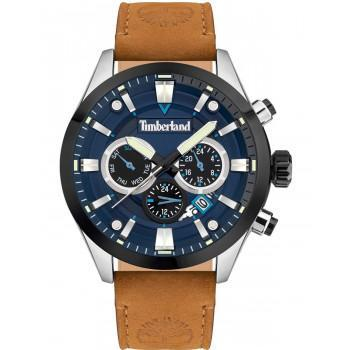 TIMBERLAND  TIDEMARK - TDWJF2001901,  Silver case with Brown Leather strap