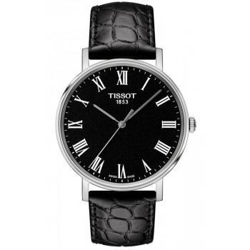 TISSOT Everytime - T1094101605300  Silver case with Black Leather Strap