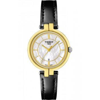 TISSOT Flamingo - T0942102611100 Gold case, with Black Leather Strap