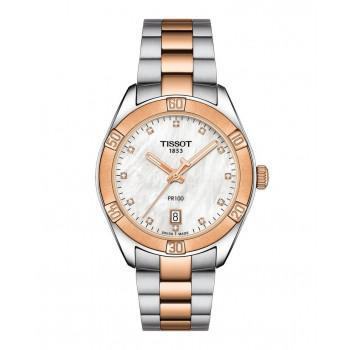 TISSOT PR100 Lady Crystals - T1019102211600  Silver case  with Stainless Steel Bracelet