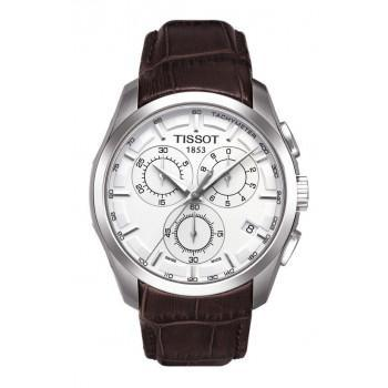 TISSOT T-Classic Couturier Chronograph - T0356171603100 Silver case, with Brown Leather Strap