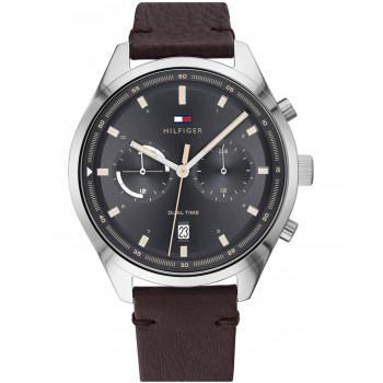 TOMMY HILFIGER Bennett Dual Time - 1791729,  Silver case with Brown Leather Strap