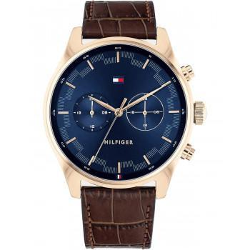 TOMMY HILFIGER Sawyer Dual Time - 1710423,  Rose Gold case with Brown Leather Strap