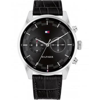 TOMMY HILFIGER Sawyer Dual Time - 1710424,  Silver case with Black Leather Strap