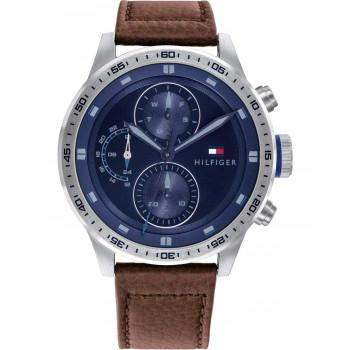 TOMMY HILFIGER Trent - 1791807,  Silver case with Brown Leather Strap