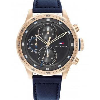 TOMMY HILFIGER Trent - 1791808,  Rose Gold case with Blue Leather Strap