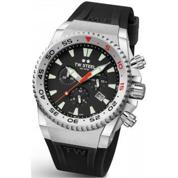 TW STEEL Ace Diver Limited Edition  Chronograph - ACE400,  Silver case with Black Rubber Strap