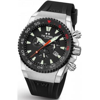 TW STEEL Ace Diver Limited Edition  Chronograph - ACE401,  Silver case with Black Rubber Strap