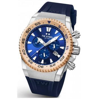 TW STEEL Ace Diver Limited Edition  Chronograph - ACE402,  Silver case with Blue Rubber Strap