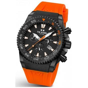 TW STEEL Ace Diver Limited Edition  Chronograph - ACE404,  Black case with Orange Rubber Strap