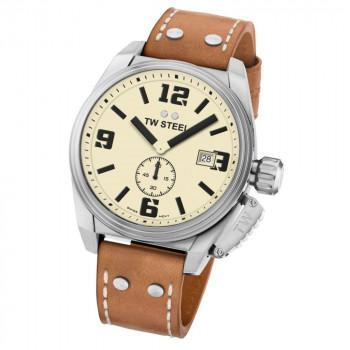 TW STEEL Canteen - TW1000  Silver case, with Brown Leather Strap