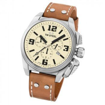 TW STEEL Canteen - TW1010  Silver case, with Brown Leather Strap