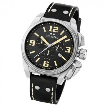 TW STEEL Canteen - TW1011  Silver case, with Black Leather Strap