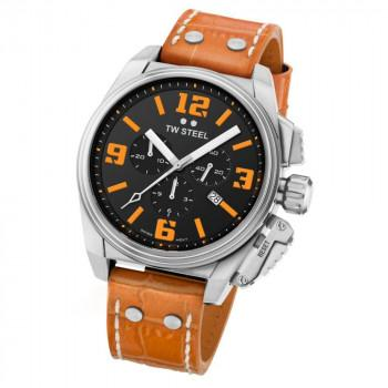 TW STEEL Canteen - TW1012  Silver case, with Brown Leather Strap