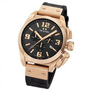 TW STEEL Canteen - TW1014  Rose Gold case, with Black Leather Strap