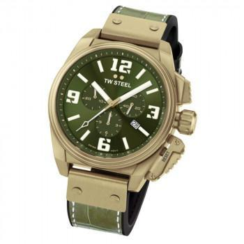 TW STEEL Canteen - TW1015  Bronze case, with Green Leather Strap