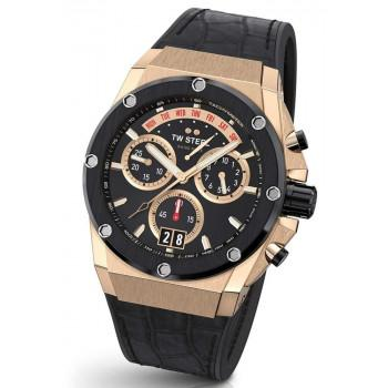 TW STEEL Genesis Limited Edition Chronograph - ACE113,  Rose Gold case with Black Leather & Rubber Strap