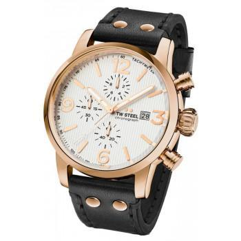TW STEEL Maverick Chronograph - MS73, Rose Gold case with Black Leather Strap