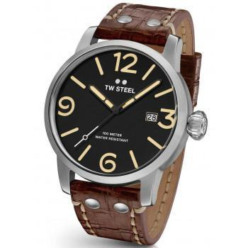 TW STEEL Maverick - MS1 Silver case, with Brown Leather Strap