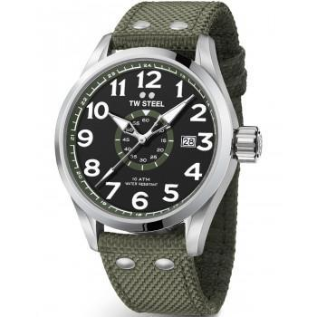 TW STEEL Volante - VS22, Silver case with Khaki Fabric Strap