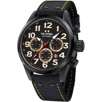 TW STEEL WTCR Coronel Special Edition Chronograph - TW978,  Black case with Black Fabric Strapt