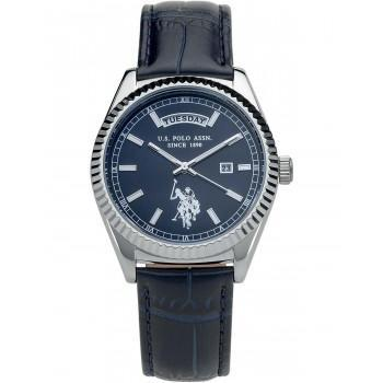 U.S. POLO Aram - USP3109BL  Silver case  with Blue Leather Strap