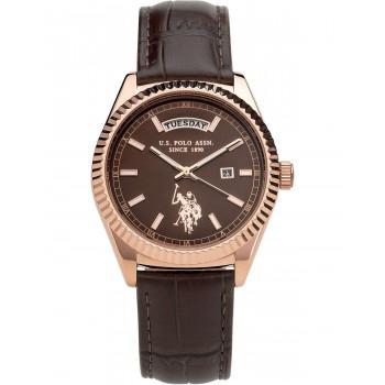 U.S. POLO Aram - USP3111BR, Rose Gold case  with Brown Leather Strap