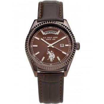 U.S. POLO Aram - USP3118BR,  Brown case  with Brown Leather Strap