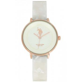 U.S. POLO Eleonore - USP5558RG,  Rose Gold case with White Plastic Bracelet
