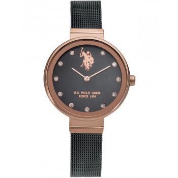 U.S. POLO Jane Crystals - USP5626BK, Rose Gold case with Metallic Bracelet