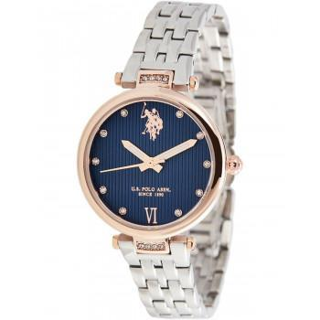 U.S. POLO Margot Crystals - USP5980BL, Rose Gold case with Stainless Steel Bracelet