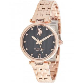 U.S. POLO Margot Crystals - USP5981BK, Rose Gold case with Stainless Steel Bracelet